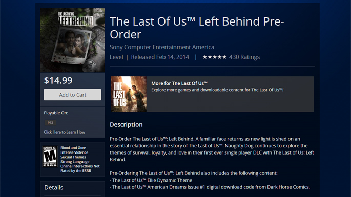 The Last of Us Left Behind DLC Release Date Set for February 14, 2014