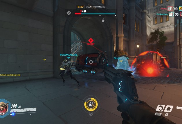 You see Mercy with her wings? She's a healer and should almost always be your primary target.