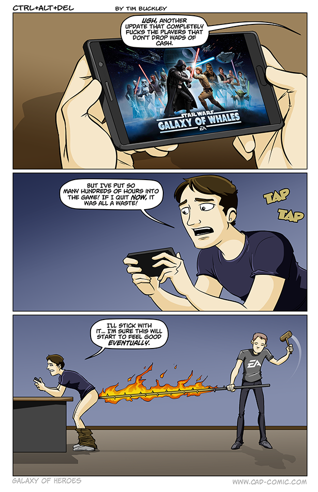 CTRL+ALT+DEL Comic by Tim Buckley that perfectly summarizes Star Wars: Galaxy of Heroes